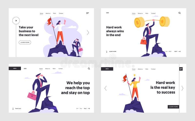 Businesspeople överst av uppsättningen för sidan för framgångWebsitelandning, affärsmän, kvinnor står på maximum av berget stock illustrationer