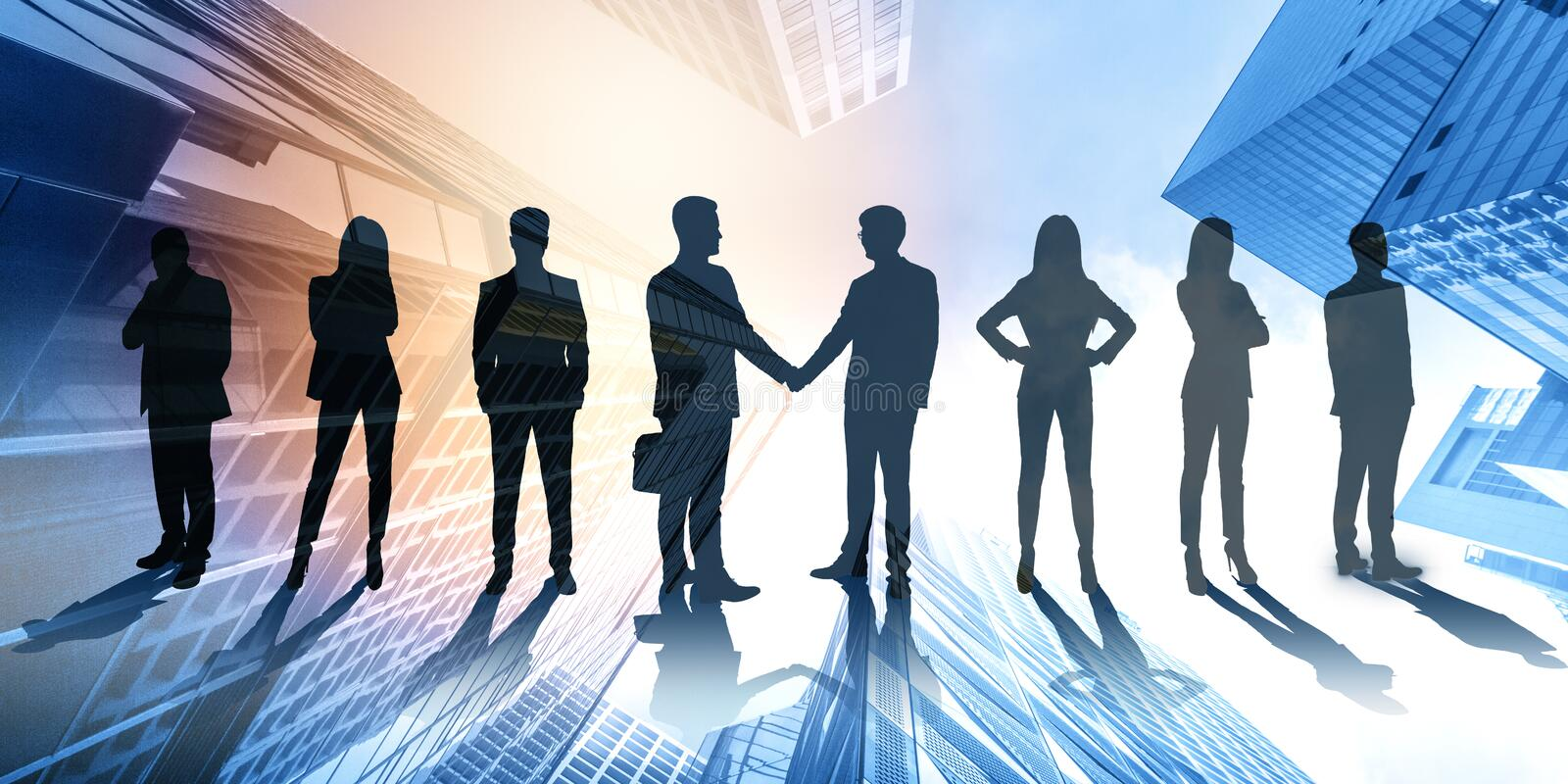 Handshake and partnership concept. Businesspeople on abstract city hologram background. Handshake and partnership concept. Multiexposure royalty free stock photo