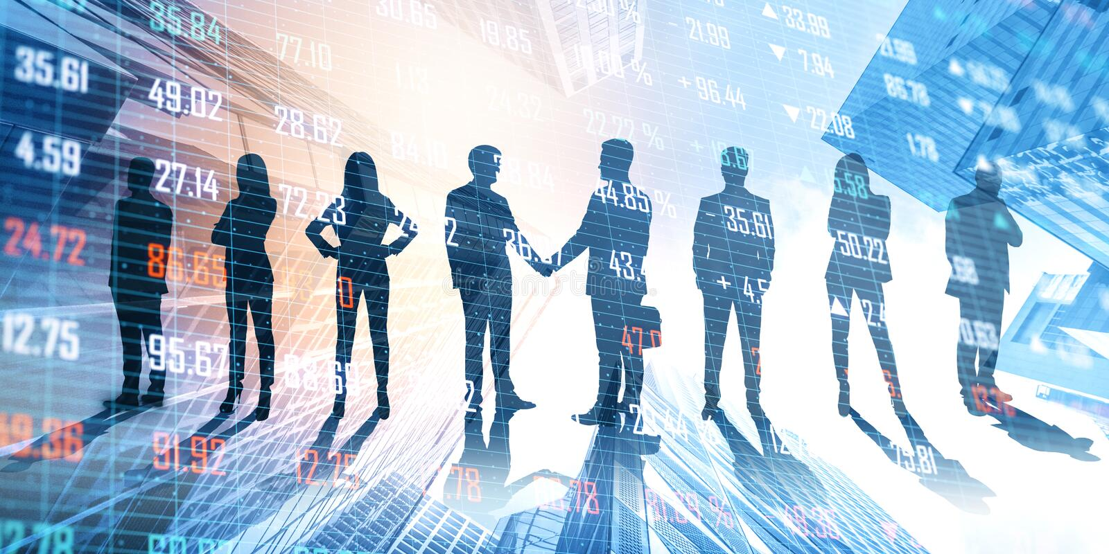 Teamwork and finance concept. Businesspeople on abstract city hologram background. Teamwork and finance concept. Double exposure stock photos