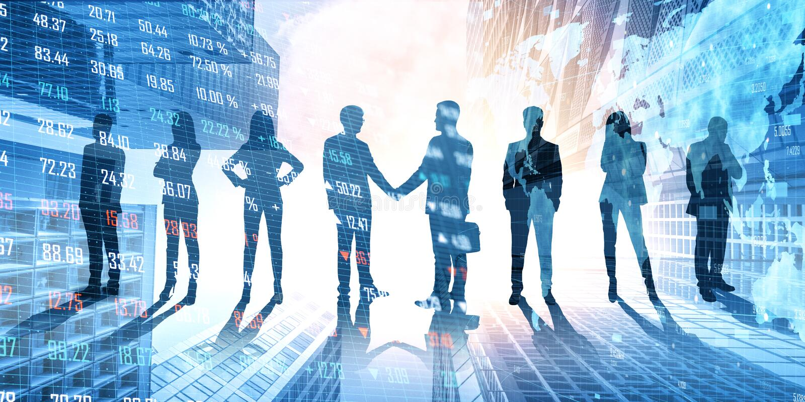 Teamwork and forex concept. Businesspeople on abstract city hologram background. Teamwork and forex concept. Multiexposure stock image