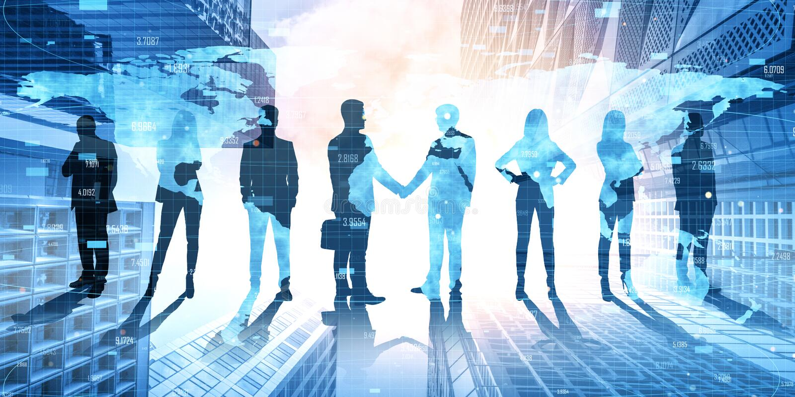 Teamwork and partnership concept. Businesspeople on abstract city hologram background. Teamwork and partnership concept. Double exposure royalty free stock photography
