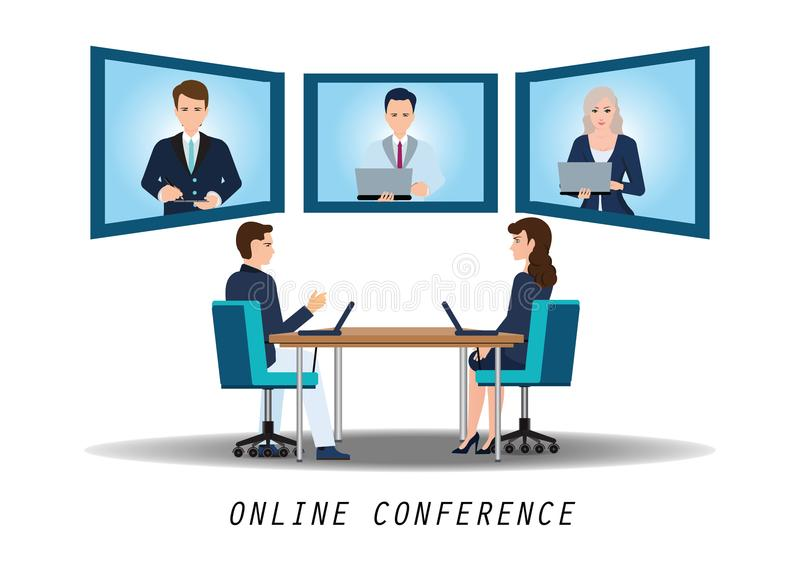 Businesspeople attending video conference on desk in office. Businesspeople attending video conference on desk in office, business conceptual vector vector illustration
