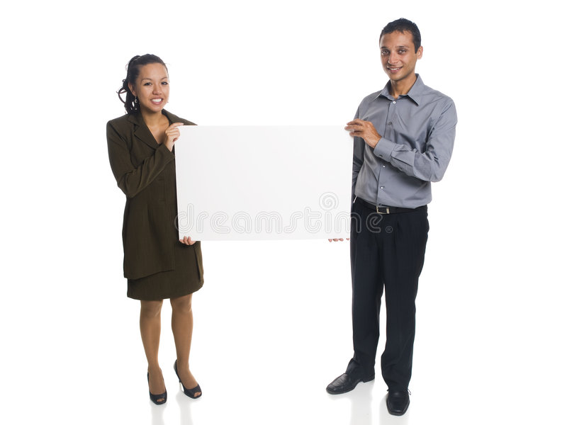 Businesspeople - blank sign stock images