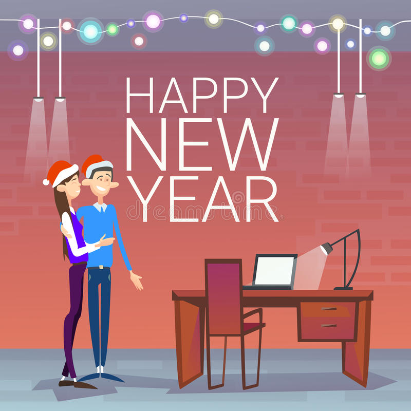 Businesspeople Celebrate Merry Christmas And Happy New Year Couple Wear Santa Hat vector illustration