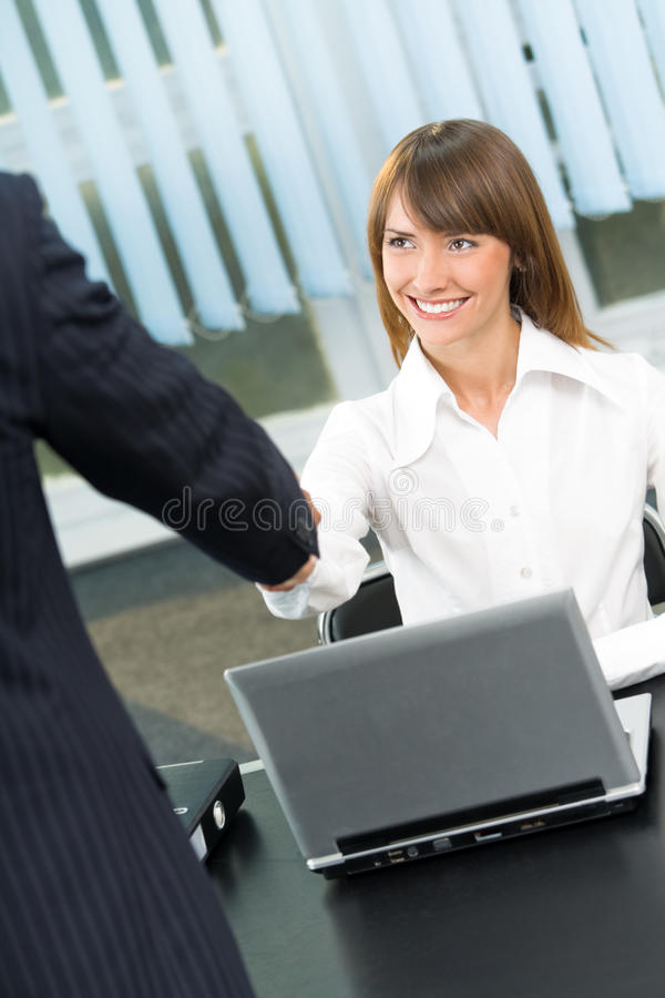 Download Businesspeople Cheering By Handshake Stock Image - Image of partnership, internet: 13385689
