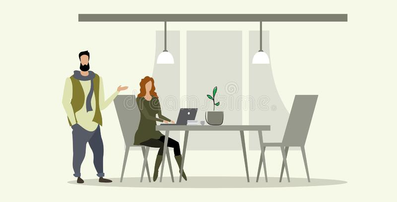 Businesspeople couple brainstorming businesswoman with male assistant using laptop discussing new project during meeting vector illustration