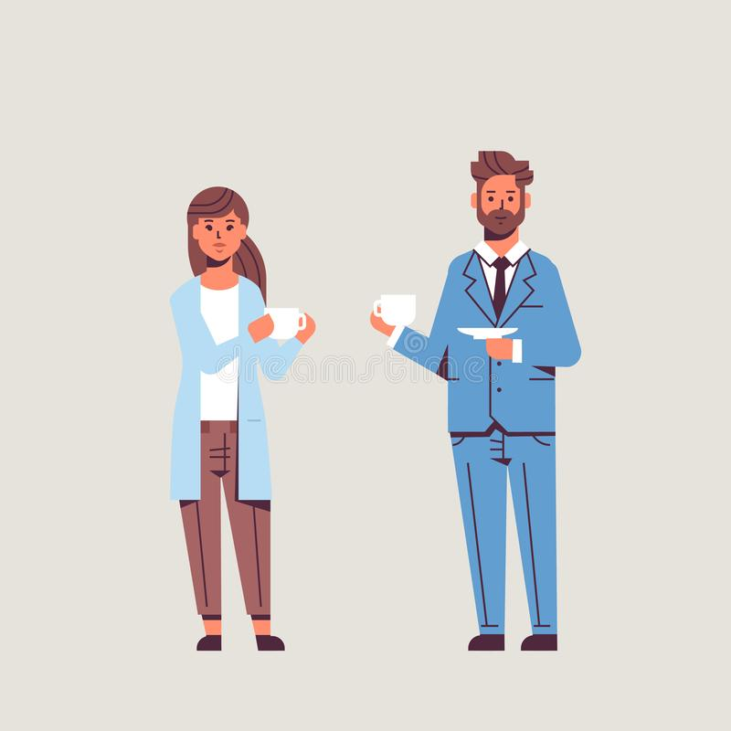 Businesspeople couple drinking cappuccino during meeting business man woman discussing colleagues standing together stock illustration