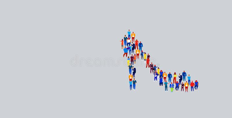 Businesspeople crowd gathering in female shoes icon shape different business people group standing together social media. Community concept horizontal vector stock illustration