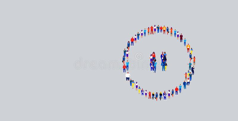 Businesspeople crowd gathering in pause button icon shape different business people group standing together social media. Community concept horizontal vector stock illustration