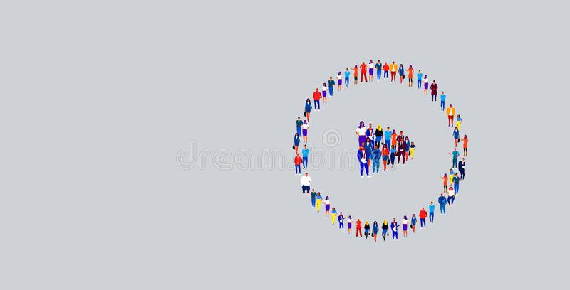 Businesspeople crowd gathering in play button icon shape different business people group standing together social media. Community concept horizontal vector stock illustration