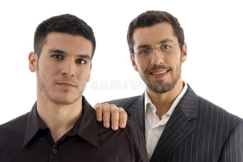 Businesspeople die zich verenigt stock foto's