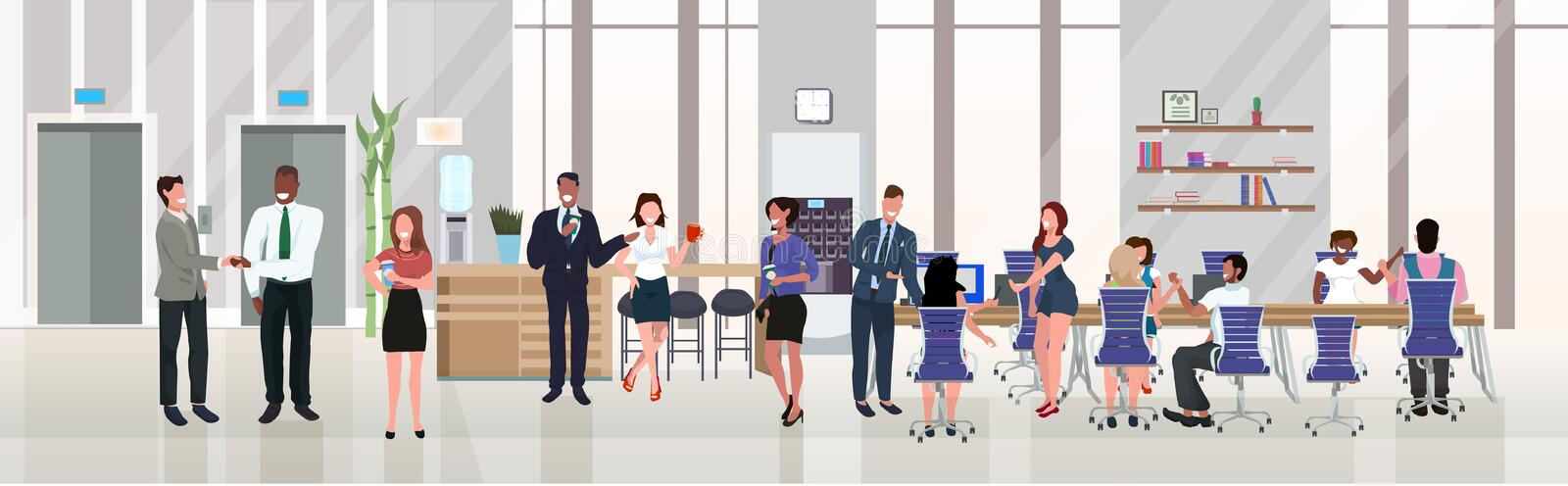 Businesspeople employees successful teamwork concept hardworking process open space creative co-working center modern royalty free illustration