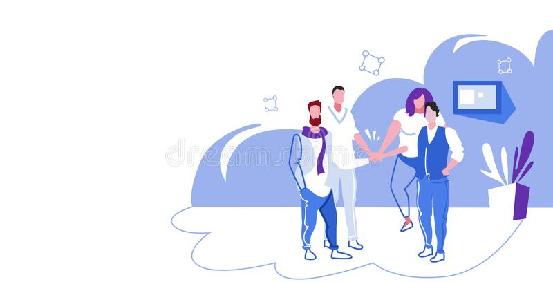 Businesspeople group collaborating holding pile hands team spirit concept business people standing together office royalty free illustration