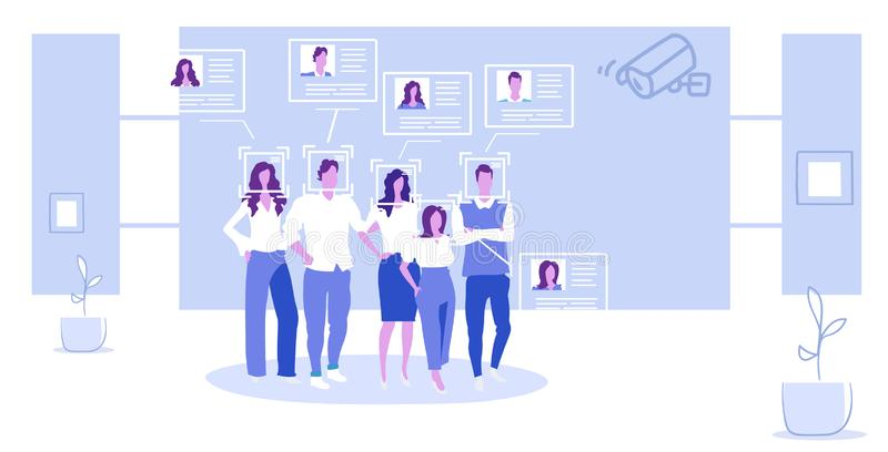 Businesspeople group company employees identification cctv security camera facial recognition system digital technology. Concept sketch full length horizontal royalty free illustration