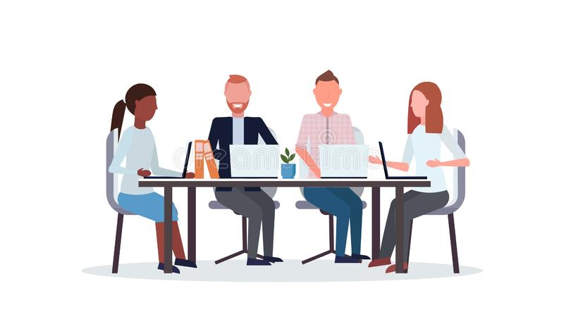 Businesspeople group meeting conference mix race coworkers using laptop sitting at round table co-working center. Workspace flat isolated horizontal vector stock illustration