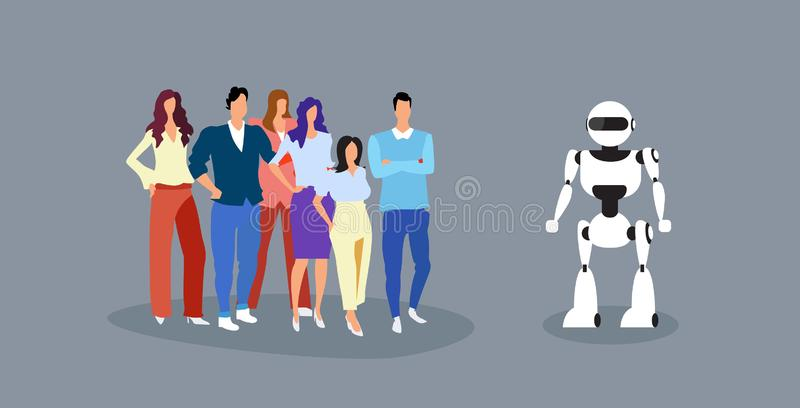 Businesspeople group standing with robot artificial intelligence concept business people at meeting with humanoid modern royalty free illustration