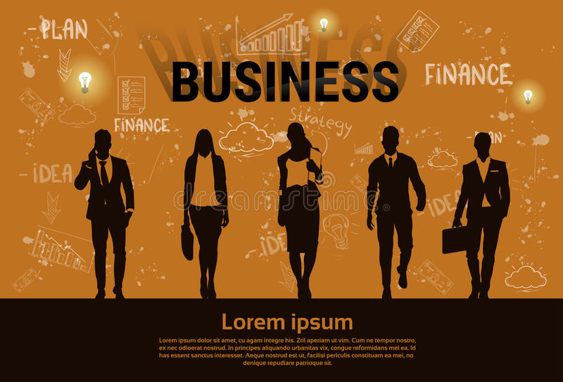 Businesspeople Group Team Teamwork Business Plan Concept Startup Development Banner stock illustration