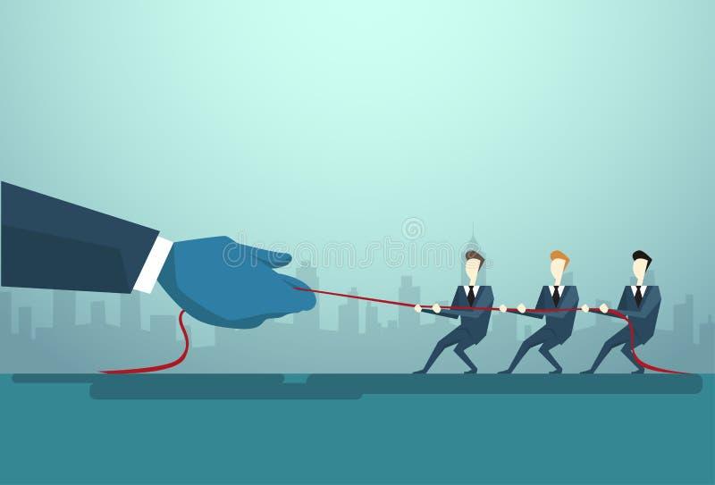 Businesspeople grupperar två Team Pulling Rope, affärskonkurrensbegrepp royaltyfri illustrationer