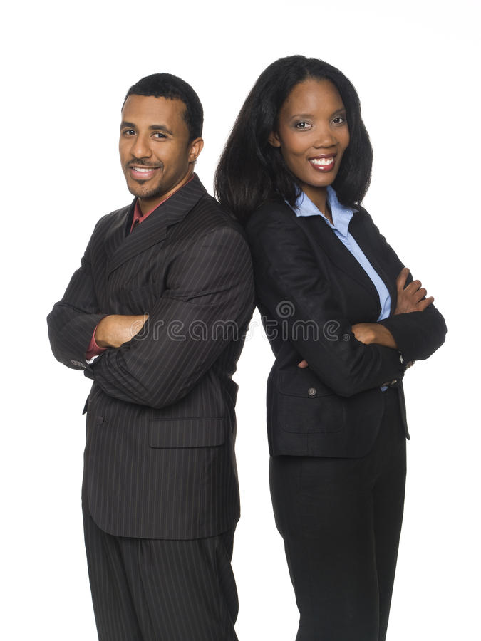 Businesspeople - happy back to back royalty free stock images