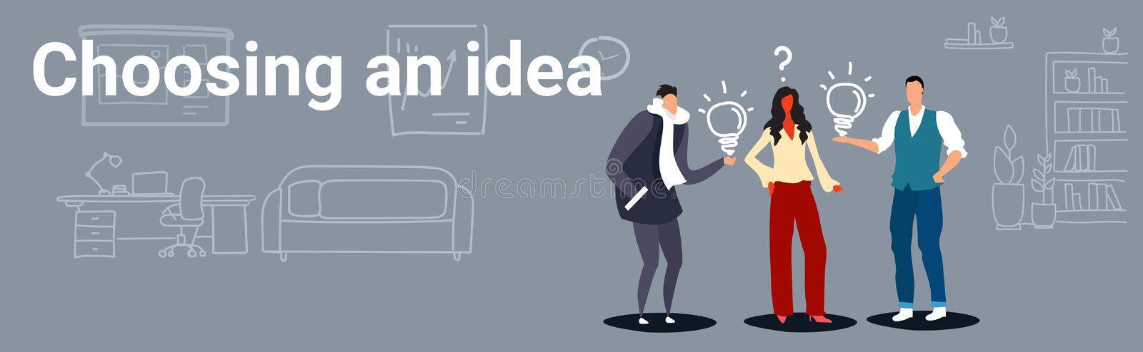 Businesspeople holding light bulbs men proposing creative business plan to woman boss choosing idea concept successful. Teamwork office interior sketch doodle vector illustration