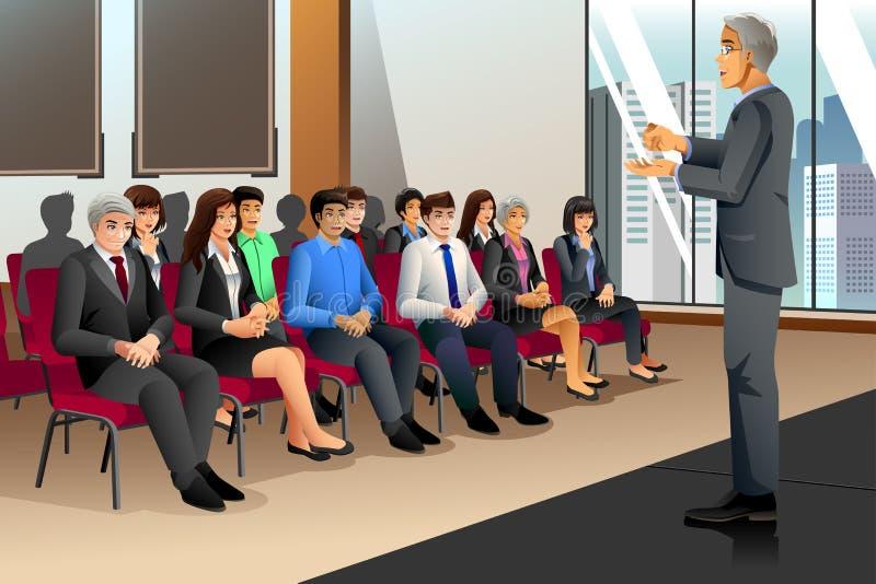 Businesspeople i seminarium stock illustrationer