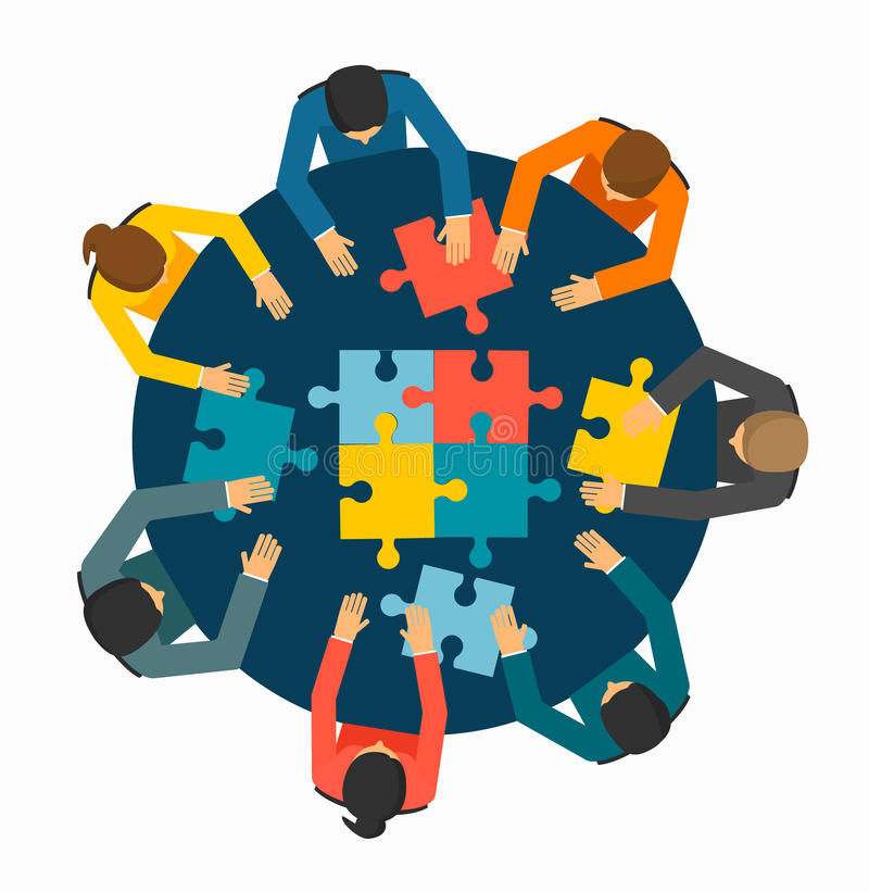 Businesspeople joining puzzle pieces. On table, vector illustration vector illustration