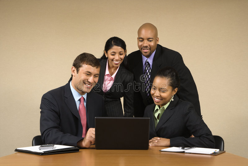 Businesspeople with laptop. royalty free stock photos