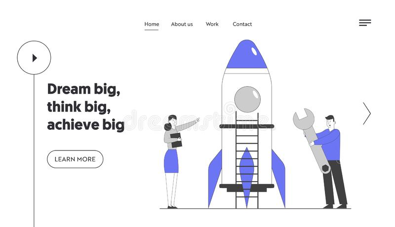 Businesspeople Launching Business Project Startup Website Landing Page. Successful Financial Idea. Creative Team. Launch Rocket Start Up Web Page Banner vector illustration