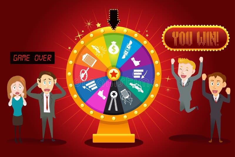 Businesspeople med det finansiella hjulet av förmögenhet stock illustrationer