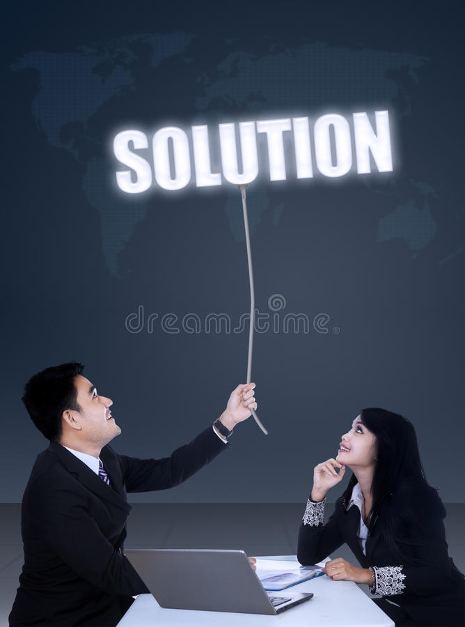 Businesspeople meeting to get solution royalty free stock photography