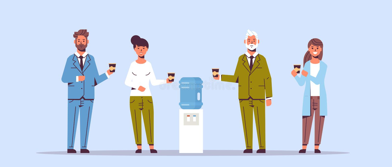 Businesspeople office workers talking and drinking water while standing near cooler employees having break concept flat. Full length horizontal vector stock illustration