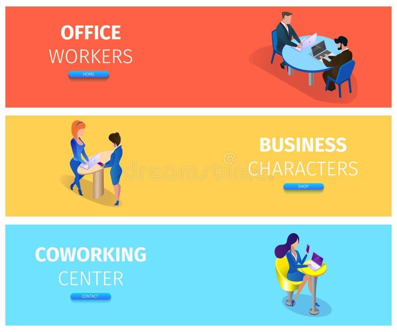 Businesspeople på uppsättningen för baner för arbetelägen stock illustrationer