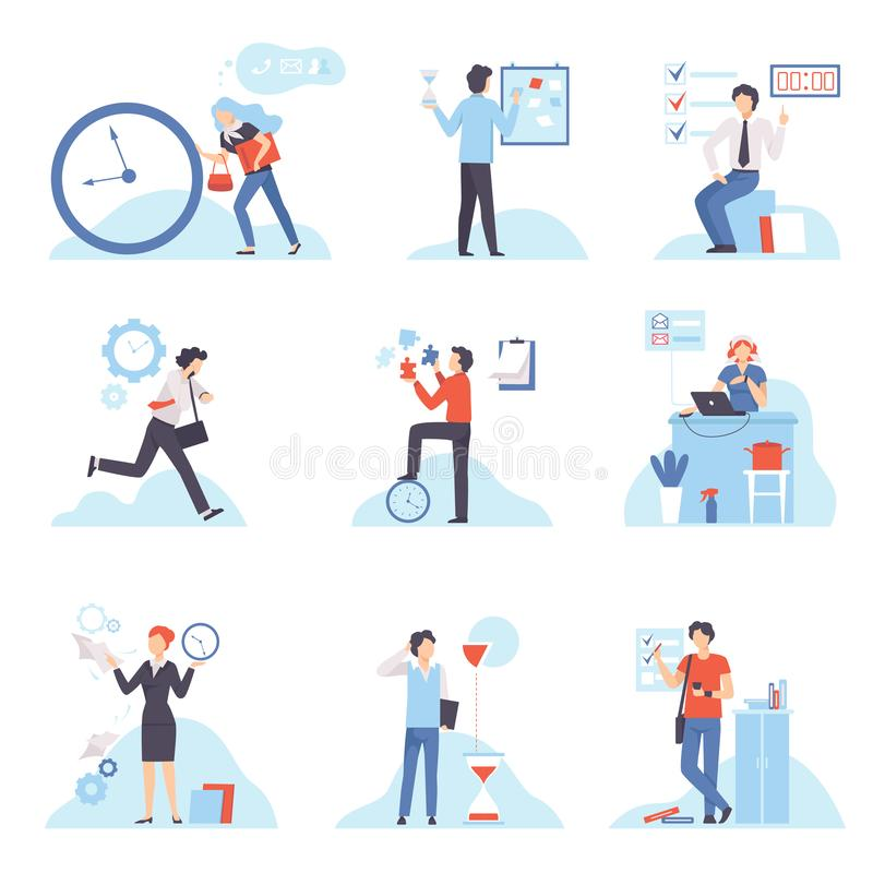Businesspeople Planning Their Working Time Set, Organization and Control of Working Time, Efficient Time Management vector illustration