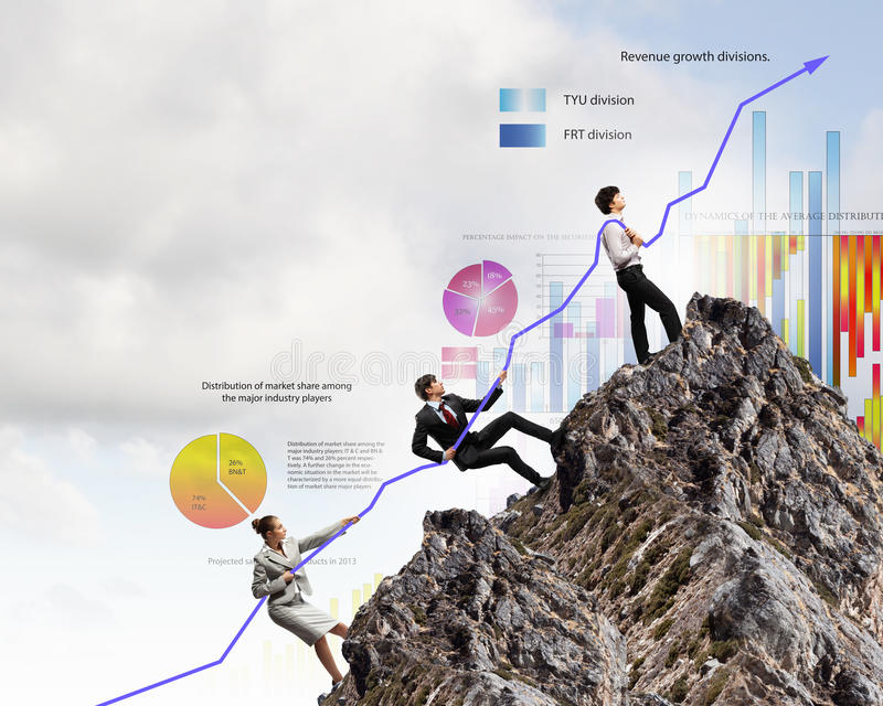 Businesspeople pulling graph stock image