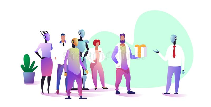 Businesspeople with robotic colleagues team giving surprise to chief humanoid robot vs human artificial intelligence. Technology concept full length horizontal royalty free illustration