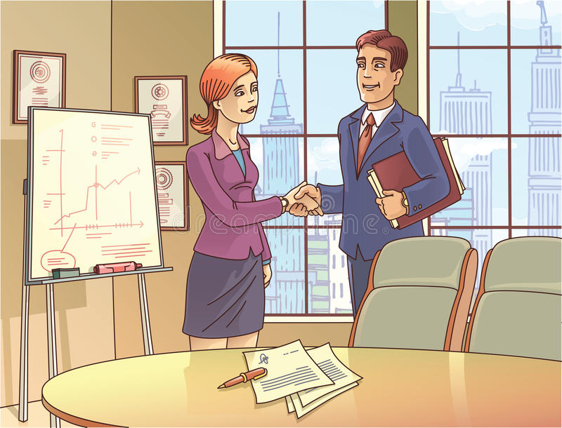 Businesspeople are Shaking the Hands. The young businessman and the businesswoman are glad to sign the contract and shaking the hands in the meeting room. The stock illustration