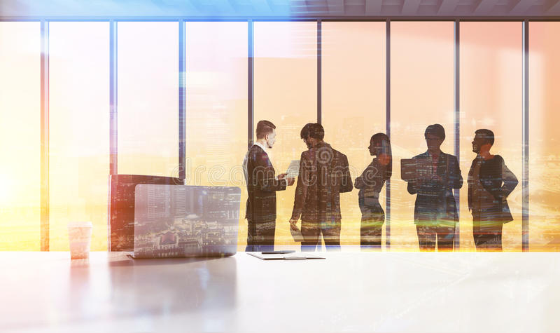 Businesspeople silhouettes, teamwork concept royalty free stock photo