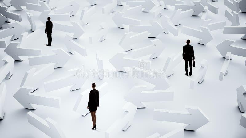 Businesspeople som är borttappade i labyrint arkivbild