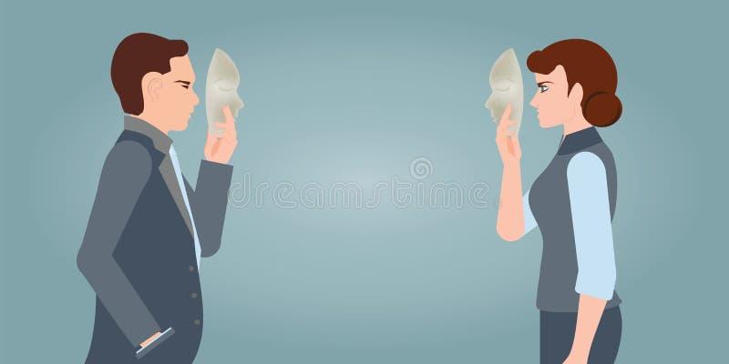 Businesspeople som bär maskeringen till hans kropp som indikerar affären fra vektor illustrationer