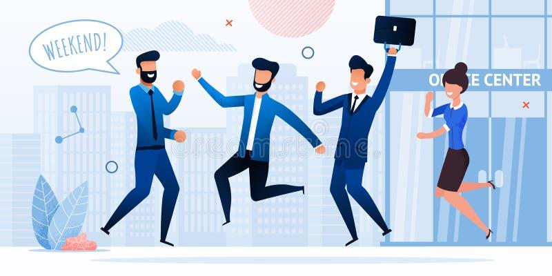 Businesspeople som firar den plana vektorn för helg vektor illustrationer