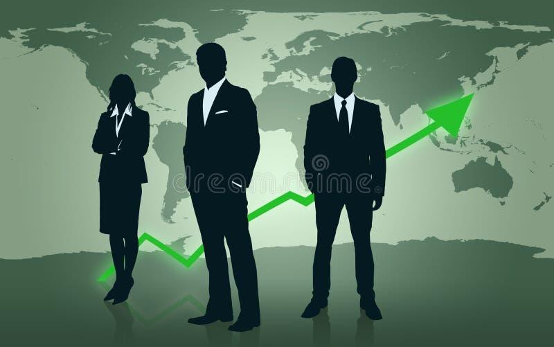 Businesspeople som framme plattforer av världsöversikt royaltyfri illustrationer