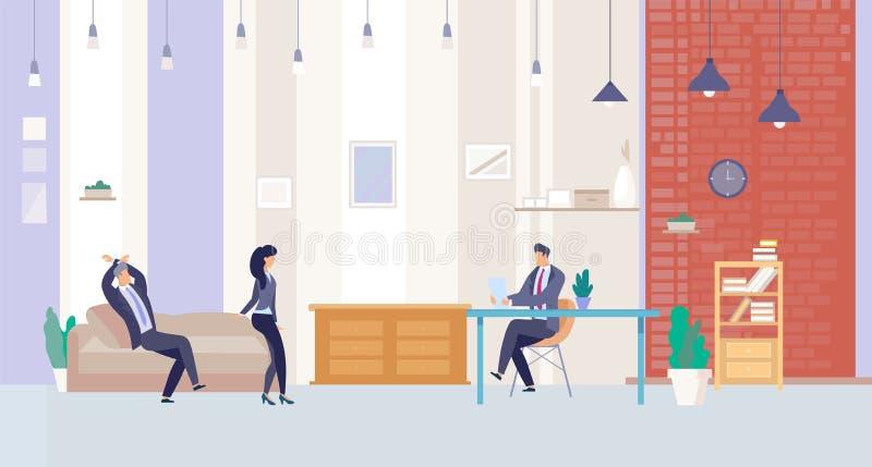 Businesspeople som i regeringsställning arbetar vektorbegrepp stock illustrationer