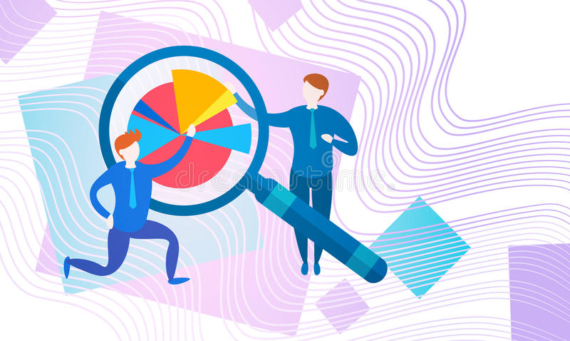 Businesspeople som packar ihop den finansiella grafen för revisorFinance Business Data analys med förstoringsapparaten royaltyfri illustrationer