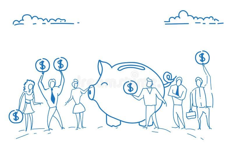 Businesspeople som rymmer besparingar för teamwork för begrepp för rikedom för tillväxt för pengar för spargris för dollarmyntinv stock illustrationer