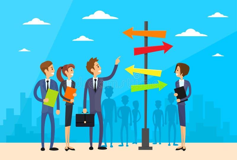 Businesspeople som står tecknet, väljer riktningsvägen vektor illustrationer