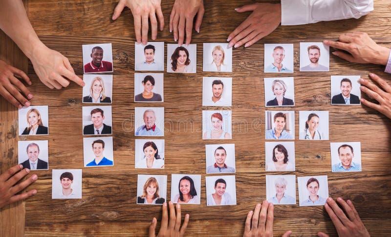 Businesspeople som väljer fotografiet av kandidaten royaltyfri foto