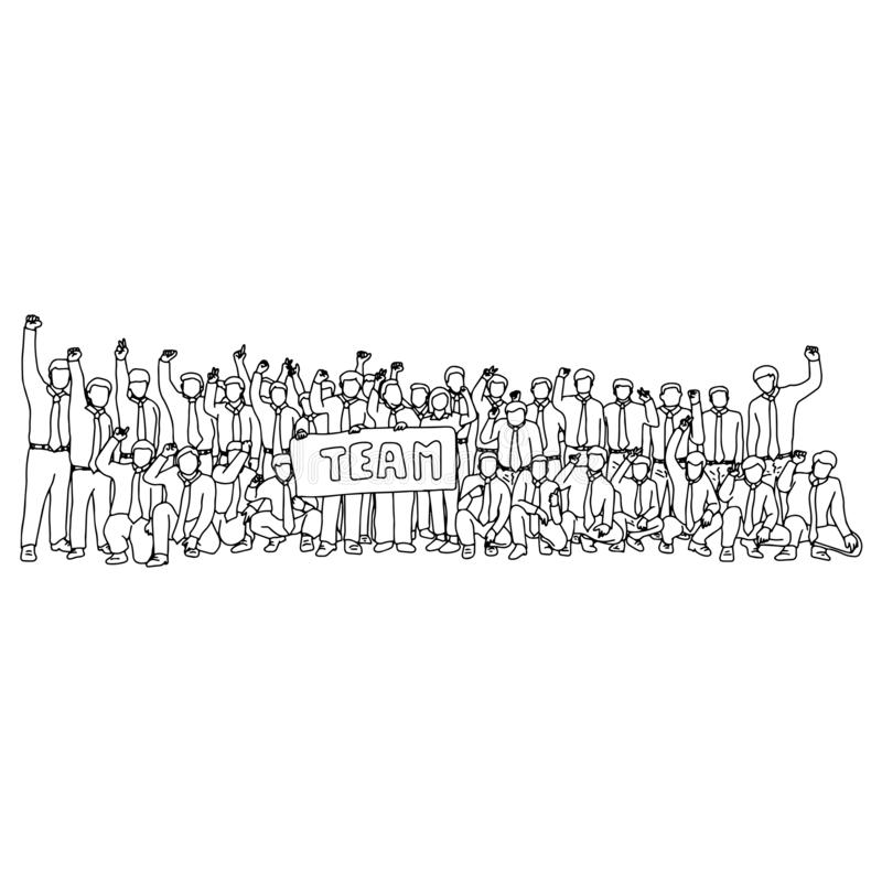 Businesspeople standing and sitting together with hand gestures vector illustration sketch doodle hand drawn with black lines. Isolated on white background royalty free illustration