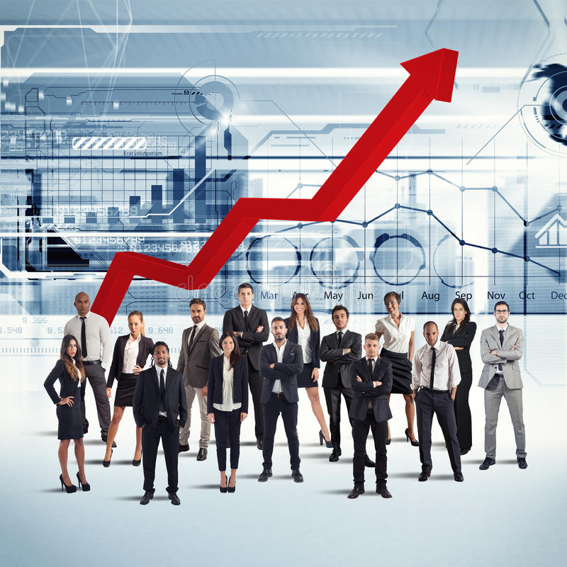 Businesspeople of successful company. Gathered with background arrow upwards royalty free stock photos