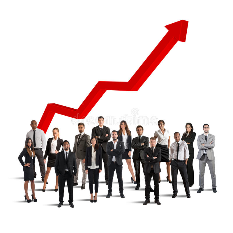 Businesspeople of successful company. Gathered with background arrow upwards stock photo