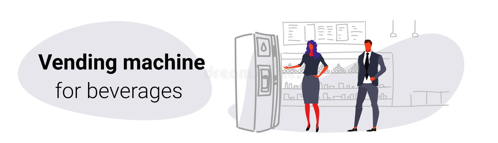 Businesspeople taking beverages from water dispenser man woman using vending machine big grocery shop modern super royalty free illustration